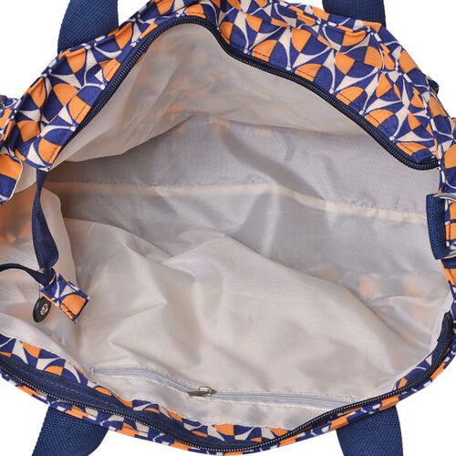Navy Blue and Orange Colour Dots Pattern Tote Bag With External Zipper Pocket and Adjustable and Removable Shoulder Strap (Size 37x25x12 Cm)