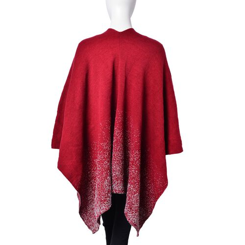 Designer Inspired-Red and Grey Colour Knitted Kimono (Size 120X80 Cm)