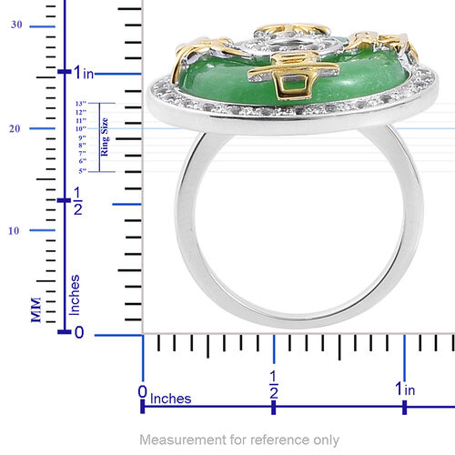 Green Jade (Rnd 15.00 Ct), White Topaz Chinese Character GONG XI FA CAI (Wealth and Prosperity) Ring in 14K Gold Overlay Sterling Silver 15.500 Ct.