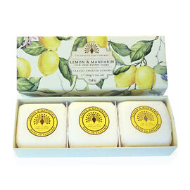 THE ENGLISH SOAP COMPANY- Classic Gift Boxed Soap 3 x 100g Lemon and Mandarin- Estimated delivery within 5-7 working days