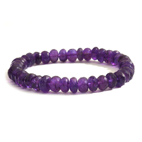 Amethyst (Rnd) Stretchable Beads Bracelet (Size 7.5) 100.000  Ct.