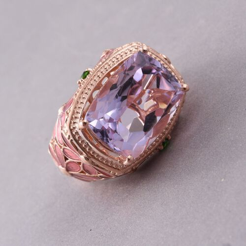 GP Rose De France Amethyst (Cush), Russian Diopside and Kanchanaburi Blue Sapphire Ring in Rose Gold Overlay Sterling Silver 8.430 Ct.