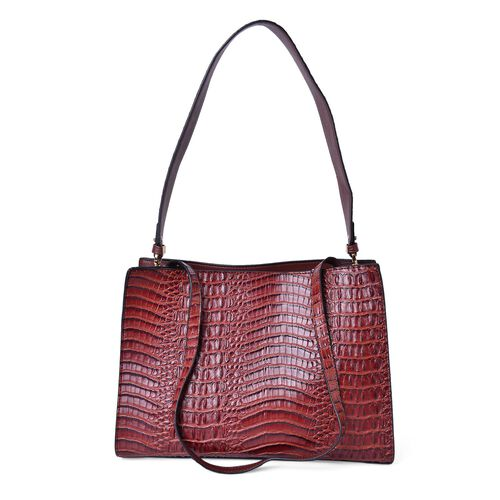 Designer Inspired-Chocolate Colour Croc Embossed Tote Bag with Removable Shoulder Strap (Size 35.5X24.5X14 Cm)