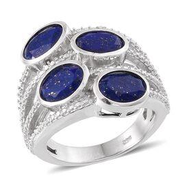 Lapis Lazuli (Ovl), Diamond Ring in Platinum Overlay Sterling Silver 4.510 Ct.