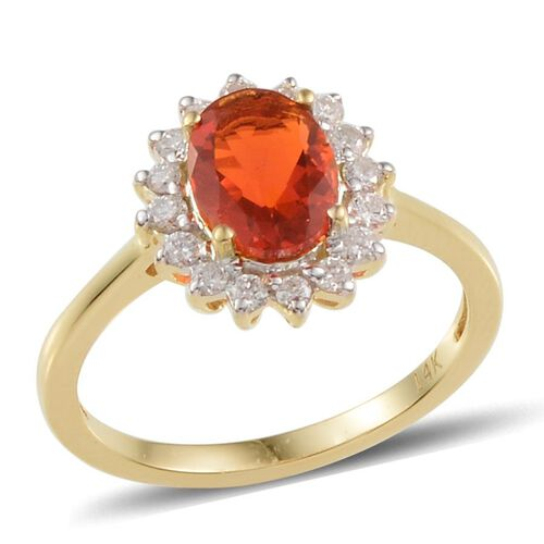 14K Y Gold Jalisco Fire Opal (Ovl 0.75 Ct), Diamond Ring 1.050 Ct.