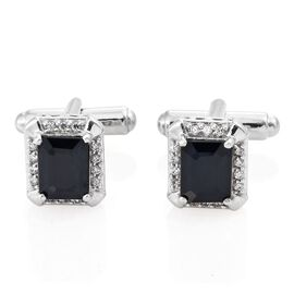 Limited Available- Kanchanaburi Blue Sapphire (Oct), Natural Cambodian Zircon Cufflinks in Platinum Overlay Sterling Silver 6.500 Ct. Silver wt. 7.50 Gms.