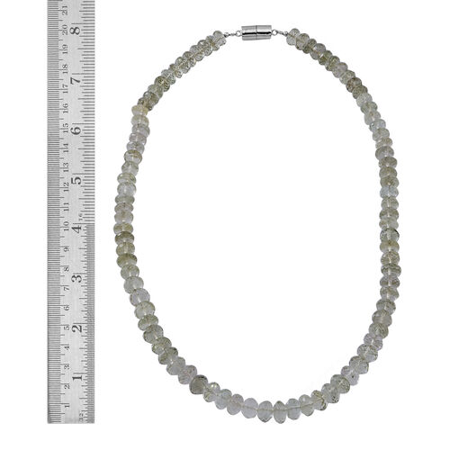 Limited Available Rare Green Amethyst Necklace (Size 18) with Magnetic Lock in Rhodium Plated Sterling Silver 225.000 Ct.