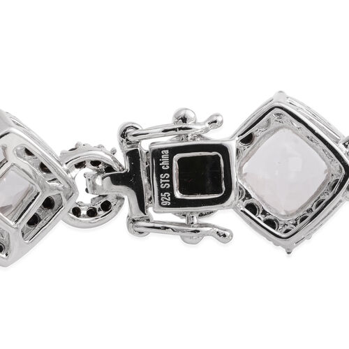 15.98 Ct White Quartz and Boi Ploi Black Spinel Bracelet in Platinum Plated Silver 17 gms 7 Inch Number of Gemstone 272