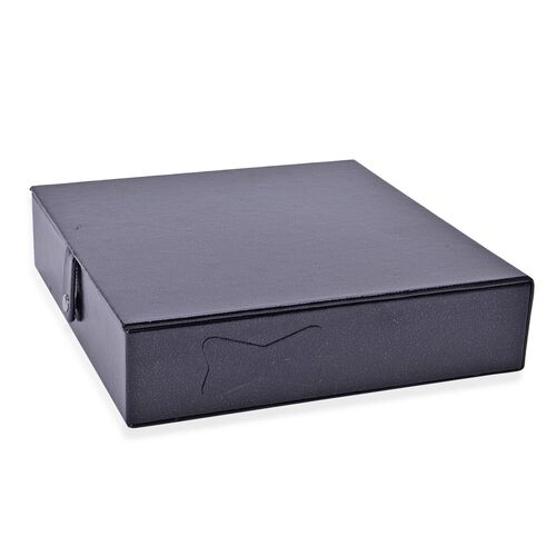 Black Leather Look Jewellery Box with AntiTarnish Velvet Lining  (Size 23x23x6 Cm)