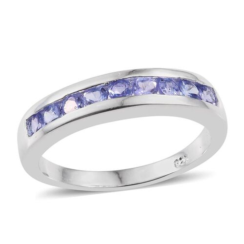 Tanzanite (Rnd) Half Eternity Band Ring in Sterling Silver 0.750 Ct.