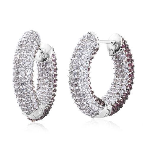 Designer Inspired - Rhodolite Garnet (Rnd), Natural Cambodian Zircon Hoop Earrings in Platinum Overlay Sterling Silver 10.00 Ct. Gemstone Studded 480.Silver Wt 17.81 Gms