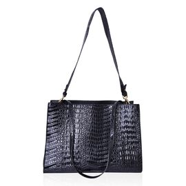 Designer Inspired-Black Colour Croc Embossed Tote Bag with Removable Shoulder Strap (Size 35.5X24.5X14 Cm)
