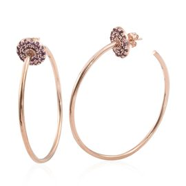 Designer Inspired - Rose De France Amethyst (Rnd) Hoop Earrings in Rose Gold Overlay Sterling Silver 1.750 Ct, Silver wt 14.80 Gms.