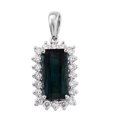 RHAPSODY 950 Platinum Monte Belo Indicolite (Oct 3.58 Ct), Diamond (VS/E-F) Pendant 4.250 Ct.