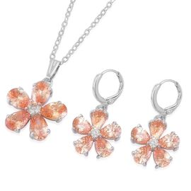 AAA Simulated Champagne Diamond Floral Pendant With Chain (Size 22) and Hoop Earrings in Silver Tone
