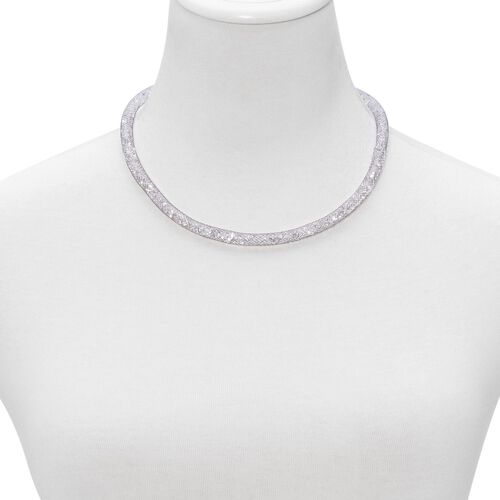 White Austrian Crystal Mesh Necklace (Size 18) in Black Tone