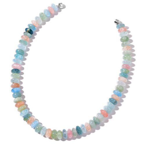 Espirito Santo Aquamarine and Marropino Morganite Necklace (Size 20) with Magnetic Clasp in Rhodium Plated Sterling Silver 754.000 Ct.