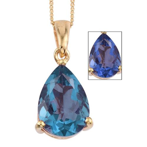 Colour Change Fluorite (Pear) Solitaire Pendant With Chain in 14K Gold Overlay Sterling Silver 5.000 Ct.