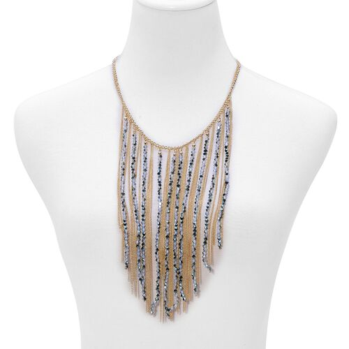Multi Colour Seed Beads Necklace (Size 20) in Gold Tone