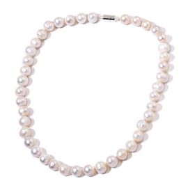 Hand Knotted Double Shine High Lustre Fresh Water White Pearl Necklace (Size 20 inch) with Magnetic Clasp in Rhodium Plated Sterling Silver (Near Round 11mm-12mm)