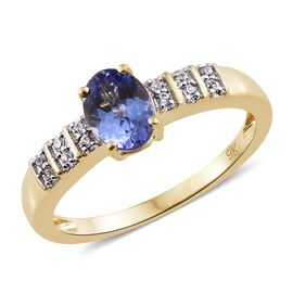 9K Yellow Gold 1.10 Ct AA Tanzanite Ring with Natural Cambodian Zircon