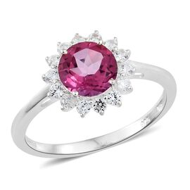 Mystic Pink Coated Topaz (Rnd 2.30 Ct), Natural Cambodian Zircon Ring in Sterling Silver 3.000 Ct.