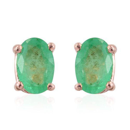 Zambian Emerald 0.90 Ct Silver Stud Earrings in Rose Gold Overlay