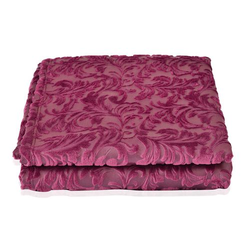 Foil Printed Purple Colour Floral Flannel Blanket (Size 160x200 cm)