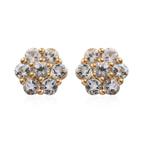 Espirito Santo Aquamarine (Rnd) Floral Stud Earrings (with Push Back) in 14K Gold Overlay Sterling Silver 1.330 Ct.