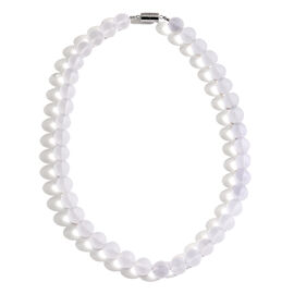 Rare Size Natural Ice Quartz (Rnd 12mm) Necklace (Size 18) with Magnetic Clasp in Rhodium Plated Sterling Silver 425.000 Ct.