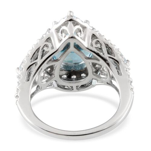 Close Out Deal 9K W Gold Sky Blue Topaz (Pear 5.75 Ct), Natural Cambodian Zircon and Espirito Santo Aquamarine Ring 7.550 Ct.