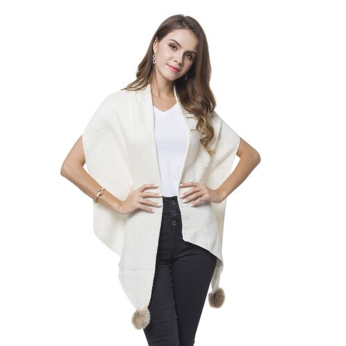 White Colour Knitted Scarf with 2 Pom Pom (Size 180X33 Cm)