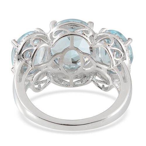 Sky Blue Topaz (Ovl 4.25 Ct), Diamond Ring in Platinum Overlay Sterling Silver 10.260 Ct.