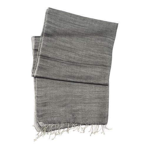 Mulberry Silk, Merino Wool Blend (50%) Handloom  Dark Grey and Silver Colour Reversible Motif Scarf (Size 190x70 Cm)