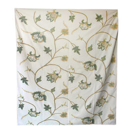 Hand Embroidery from Kashmir-100% Wool on Canvas Green, Beige and Cream Floral and Leaves Pattern Blanket (Size 160X140 Cm)