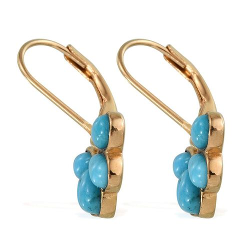 Arizona Sleeping Beauty Turquoise (Pear) Lever Back Earrings in 14K Gold Overlay Sterling Silver 2.000 Ct.