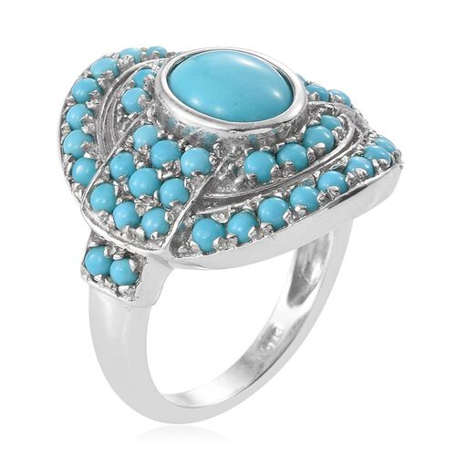Arizona Sleeping Beauty Turquoise (Ovl 1.65 Ct) Abstract Ring in Platinum Overlay Sterling Silver 3.500 Ct. Silver wt 6.65 Gms.