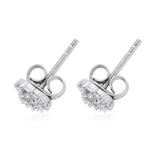 0.20 Ct Diamond Stud Earrings in Platinum Plated Silver (with Push Back)