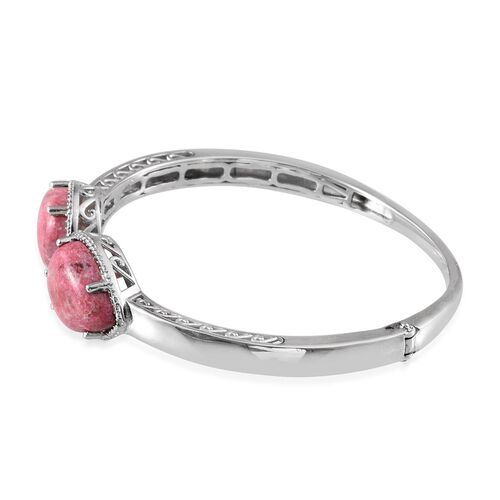 Norwegian Thulite (Pear), Diamond Open Bangle (Size 7.5) in Platinum Overlay Sterling Silver 25.050 Ct.