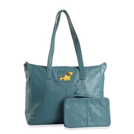 100% Genuine Leather Sea Blue Colour Dog Logo Tote Bag (Size 38x33x26x11 Cm) with External Zipper Pocket and RFID Blocker Pouch (Size 20x13 Cm)