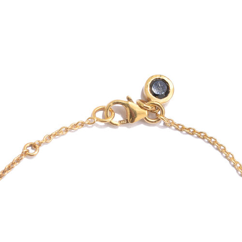 Labradorite (Rnd), Boi Ploi Black Spinel Bracelet (Size 7.5) with Circle Charm in Yellow Gold Overlay Sterling Silver 6.500 Ct.