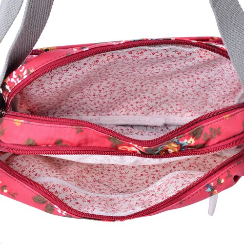Designer Inspired Multi Colour Floral Printed Red Colour Handbag with External Zipper Pocket and Adjustable Shoulder Strap (Size 24x18x8 Cm)
