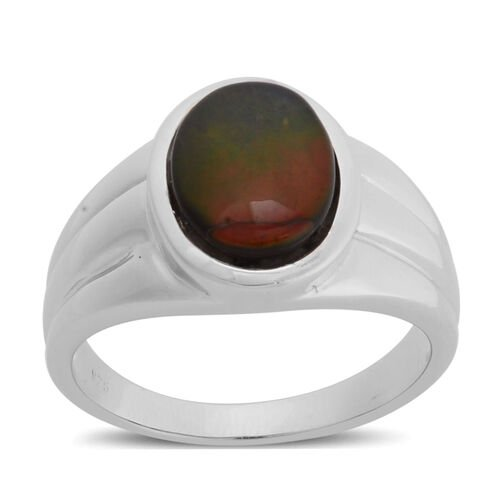 Canadian Ammolite (Ovl) Solitaire Ring in Rhodium Plated Sterling Silver 2.000 Ct.
