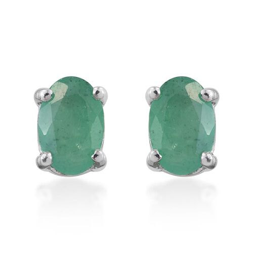 Zambian Emerald 0.90 Ct Silver Stud Earrings in Platinum Overlay