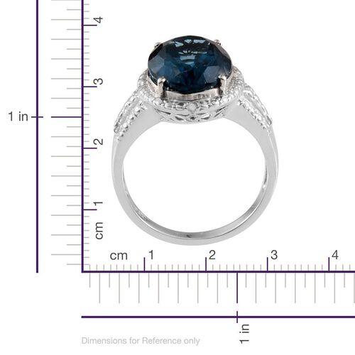 London Blue Topaz (Ovl 6.25 Ct), Diamond Ring in Platinum Overlay Sterling Silver 6.282 Ct.