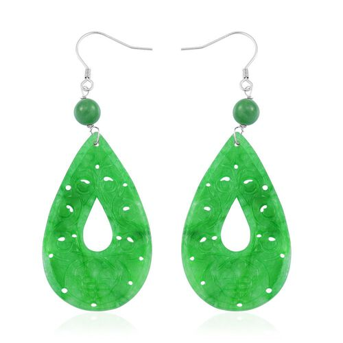 One Time Deal - Green Jade Wealth Symbol Teardrop Hook Earrings in Rhodium Plated Sterling Silver 39.000 Ct.
