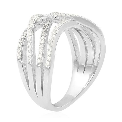 ELANZA AAA Simulated White Diamond Criss Cross Ring in Rhodium Plated Sterling Silver