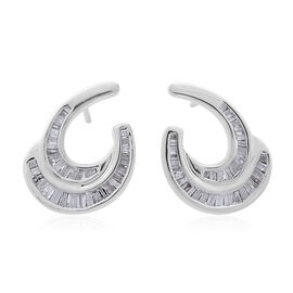 Diamond (Bgt) Earrings (with Push Back) in Platinum Overlay Sterling Silver 0.750 Ct.