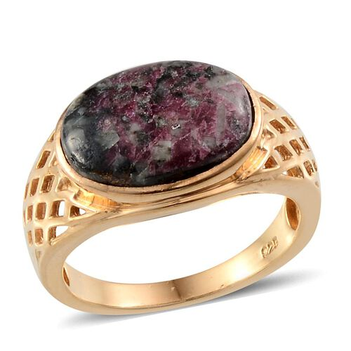 Natural Russian Eudialyte (Ovl) Solitaire Ring in 14K Gold Overlay Sterling Silver 4.750 Ct.