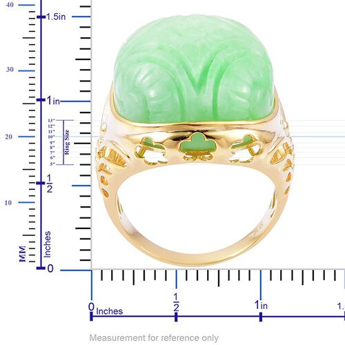 LImited Edition Rare Carved Green Jade Ring in Yellow Gold Overlay Sterling Silver 49.750 Ct.